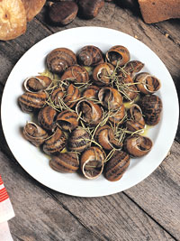 Snails with Rosemary and Wine